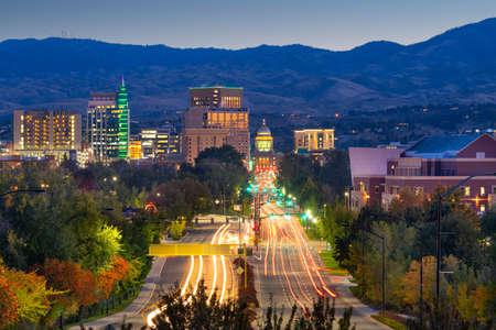 Boise, Idaho, USA downtown cityscape at twilight.