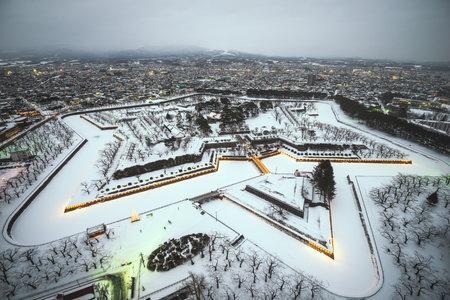 Hakodate, Japan at Fort Goryokaku in winter. 版權商用圖片