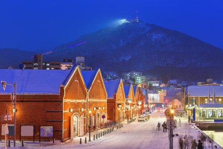 Hakodate, Hokkaido, Japan at the historic shops and restaurants of the Kanemori on a winter evening. 版權商用圖片