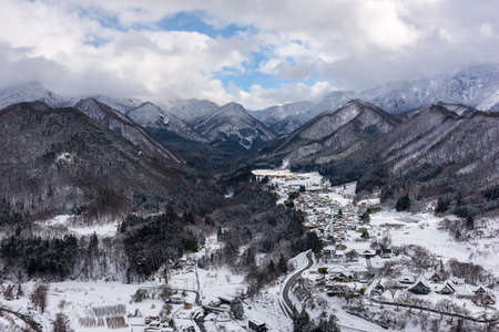 View from Yamadera, Japan at the Mountain Temple in winter.