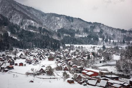 Shirakawago, Japan historic village in winter.