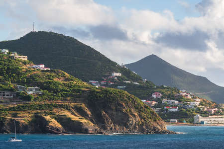 Sint Maarten coastal views in the Caribbean. 版權商用圖片