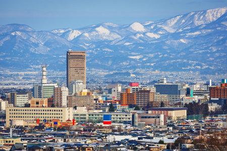 Yamagata, Japan downtown city skyline in winter. 版權商用圖片