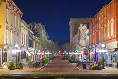 Frankfort, Kentucky, USA downtown streets at night.