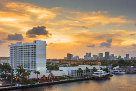 Fort Lauderdale, Florida, USA skyline at dusk.