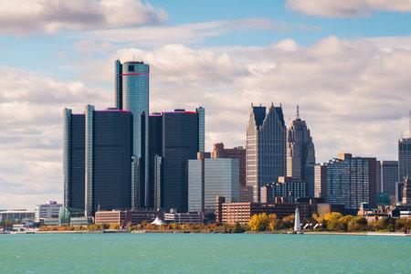 Detroit, Michigan, USA downtown city skyline on the Detroit River. 版權商用圖片