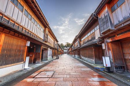 Kanazawa, Japan street scene at Higashichaya district during winter.