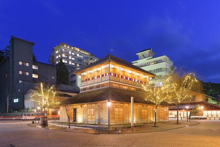 Kaga Onsen, Japan at the Yamashiro Onsen hot springs resort district. 新聞圖片