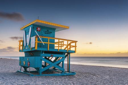 Miami Beach, Florida, USA lifeguard tower in the morning.