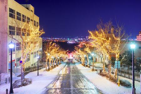 Hakodate, Hokkaido, Japan on Hachiman-zaka slope with holiday lighting at night. 版權商用圖片