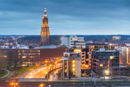 Amersfoort, Netherlands town skyline at dusk.
