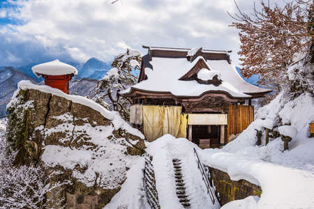 Yamadera, Japan at the Mountain Temple in winter.