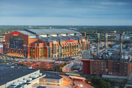 INDIANAPOLIS, INDIANA - OCTOBER 20, 2018: Lucas Oil Stadium in downtown Indianapolis. The multipurpose stadium is home to the Colts.