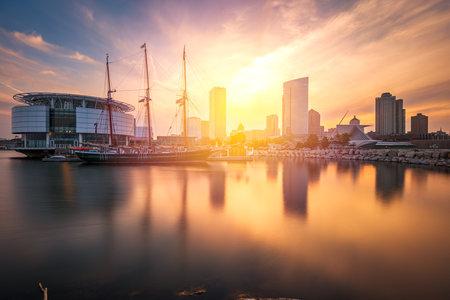 Milwaukee, Wisconsin, USA downtown city skyline on Lake Michigan at twilight. Stock Photo