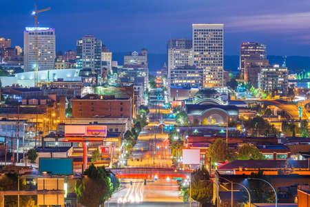 Tacoma, Washington, USA cityscape over Pacific Ave at twilight.