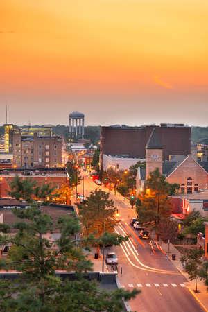 Columbia, Missouri, USA downtown city skyline at twilight. Stock Photo