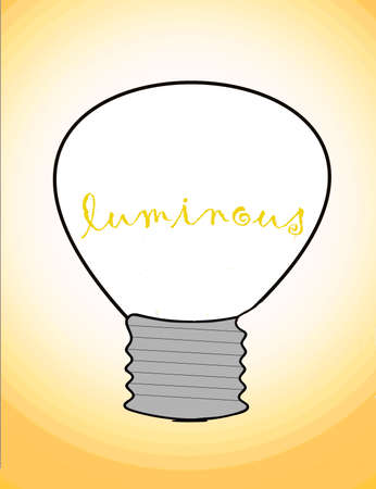 Illustration, incandescent light bulb which filament design the word `Luminoust` in orange color, incandescent fimament designing the word