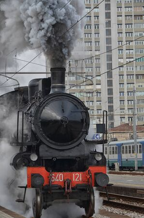 steam locomotive: Steam locomotive leaving the station Editorial
