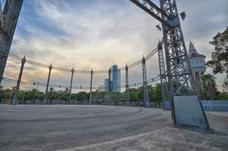 empty tank: View of old empty tank in urban scene