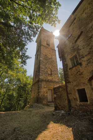 bell tower: View of bell tower in italian countryside