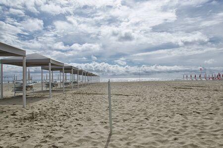 gazebo: Row of gazebo on the beach in Spring