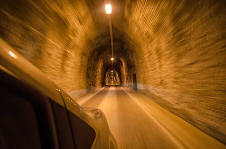 tunnel view: View of tunnel from inside the car Stock Photo