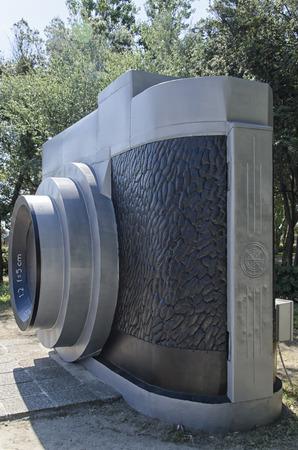 rimini: View of giant camera in park of Rimini