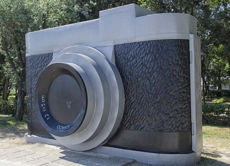enormous: View of enormous camera in park of Rimini