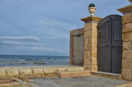 scenical: Main entrance of the villa in Sicily Stock Photo
