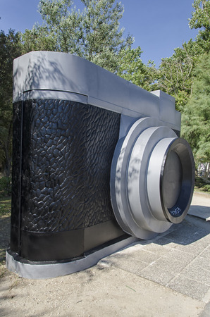 enormous: View of enormous camera in a park