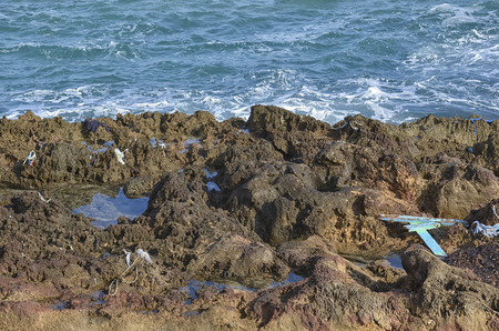disembark: Debris of migrants boat in the Sicilian coast