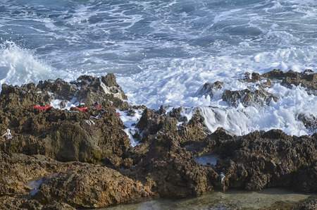 dinghies: Debris of migrants ship in the Sicilian coast Stock Photo