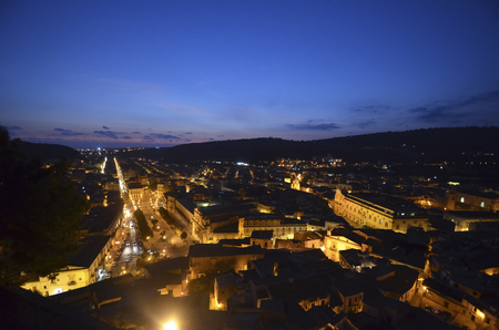 scenical: Top view of the town of Scicli at sunset Stock Photo