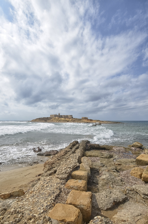 currents: View of the Islet of currents in Sicily Stock Photo