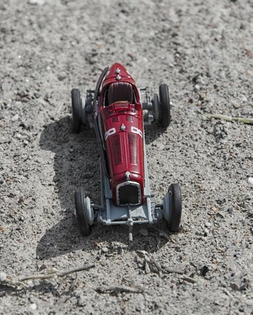 seater: Toy model of a vintage single seater car Stock Photo