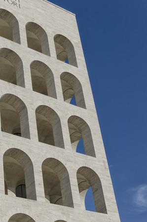 rationalist: Contrast between the sky and rationalist architecture Stock Photo