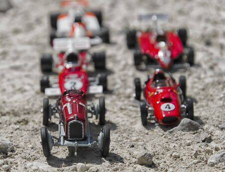 competitiveness: Toy scale models of a vintage cars Stock Photo