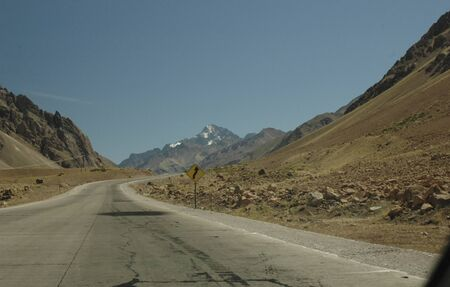 cordillera: Landscape of the Cordillera of the Andes from the car Stock Photo