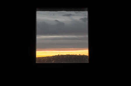 quietude: Sunrise view from a window in a natural park Stock Photo