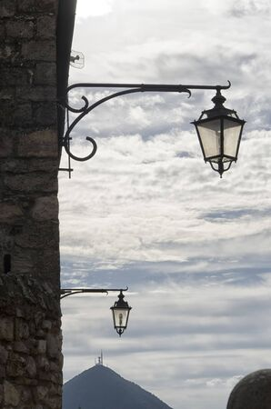 street lamps: View of street lamps in Italian town