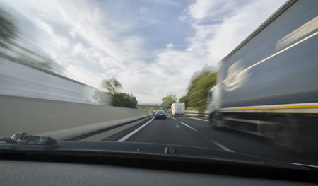 overtake: On board of a car on the motorway