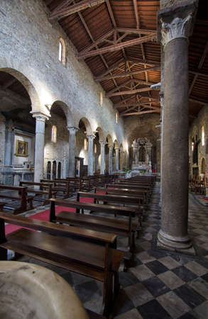 lectern: The wooden roof of church in Italy