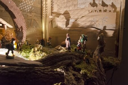 View of the nativity figurines of the Christmas scene