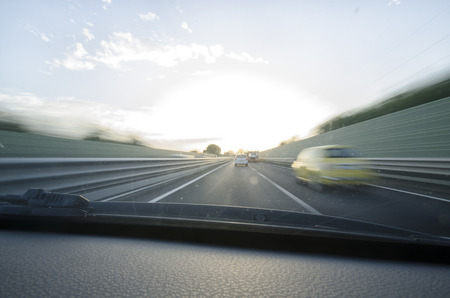 carriageway: Interior view of car that runs fast in freeway