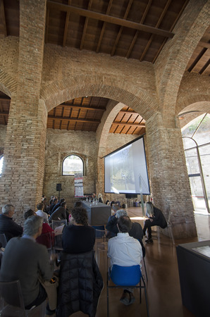 urbanism: Pisa, Italy - October 22, 2015: Meeting of urbanism at the old arsenale of Pisa. Editorial