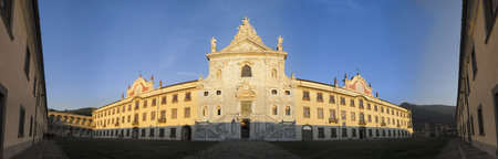 chartreuse: Interior courtyard and facade of the charterhouse of Calci Stock Photo