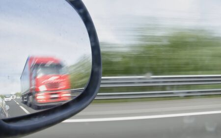 overtaking: The danger of traffic on the highway Stock Photo