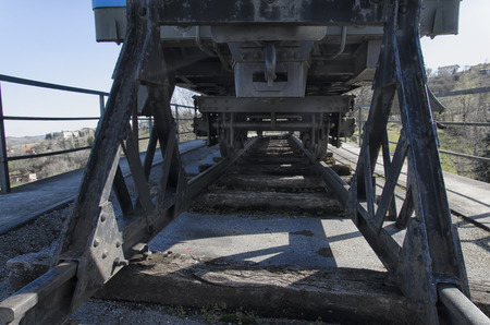 sleeper: Bottom view of old railway carriage and old railway sleeper