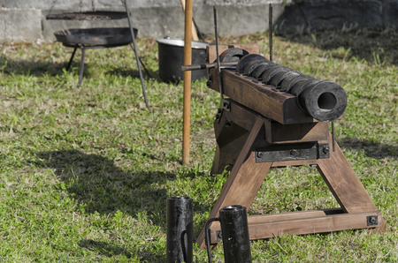 bombard: Old piece of artillery in medieval fair in Pisa