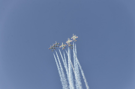 manoeuvre: The Frecce Tricolori in action at Air-show Editorial